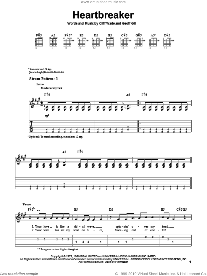 Heartbreaker sheet music for guitar solo (easy tablature) by Geoff Gill and Pat Benatar. Score Image Preview.