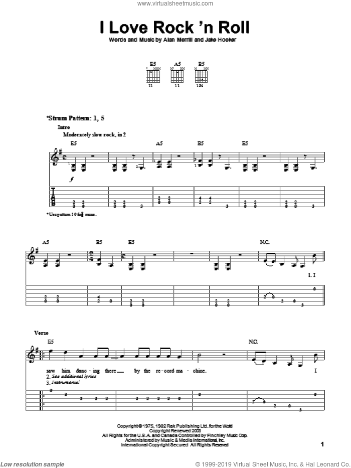 I Love Rock 'N Roll sheet music for guitar solo (easy tablature) by Joan Jett & The Blackhearts, Joan Jett, Alan Merrill and Jake Hooker, easy guitar (easy tablature). Score Image Preview.