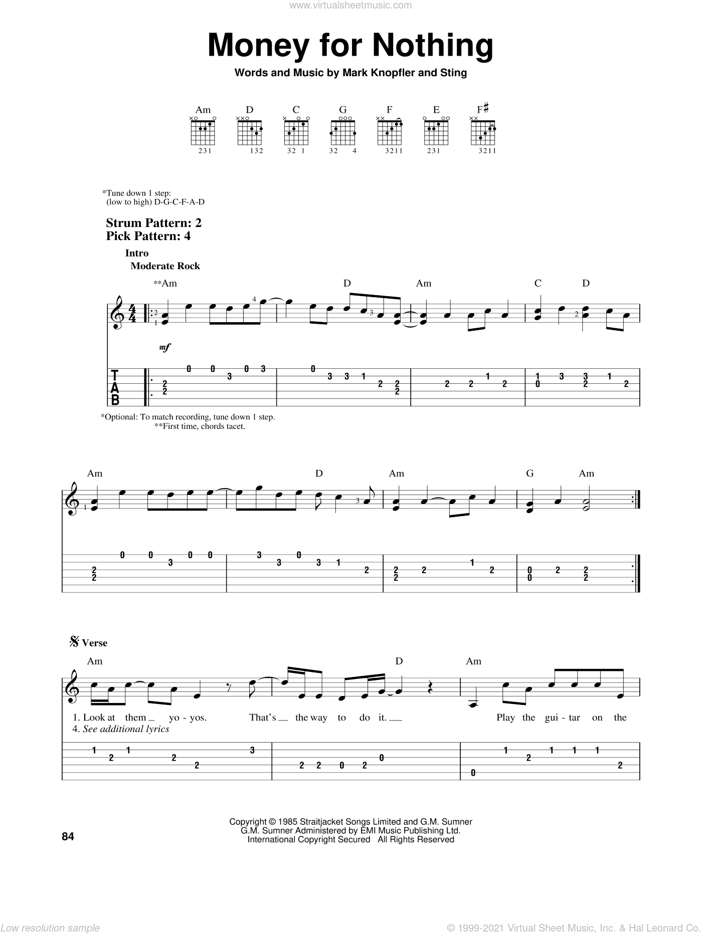 Money For Nothing sheet music for guitar solo (easy tablature) by Dire Straits, Mark Knopfler and Sting, easy guitar (easy tablature)
