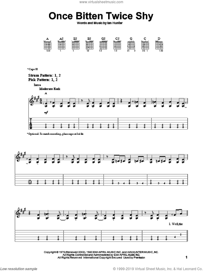 Once Bitten Twice Shy sheet music for guitar solo (easy tablature) by Great White