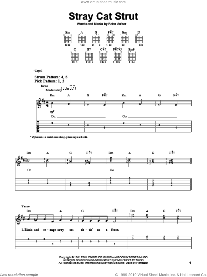 Stray Cat Strut sheet music for guitar solo (easy tablature) by Stray Cats and Brian Setzer. Score Image Preview.