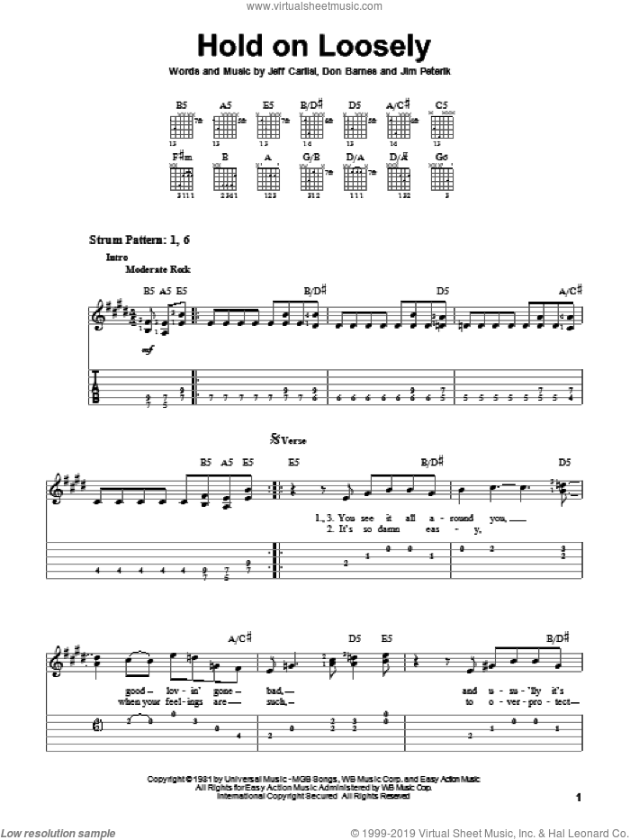 Hold On Loosely sheet music for guitar solo (easy tablature) by 38 Special, Don Barnes, Jeff Carlisi and Jim Peterik, easy guitar (easy tablature)