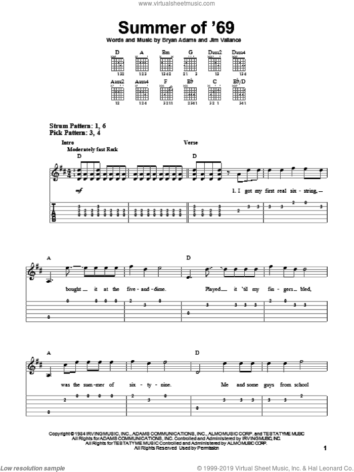 Summer Of '69 sheet music for guitar solo (easy tablature) by Bryan Adams and Jim Vallance, easy guitar (easy tablature)