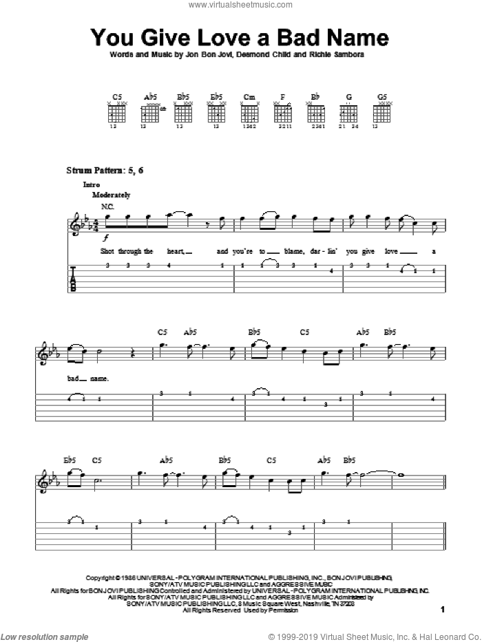 You Give Love A Bad Name sheet music for guitar solo (easy tablature) by Richie Sambora, Bon Jovi and Desmond Child. Score Image Preview.