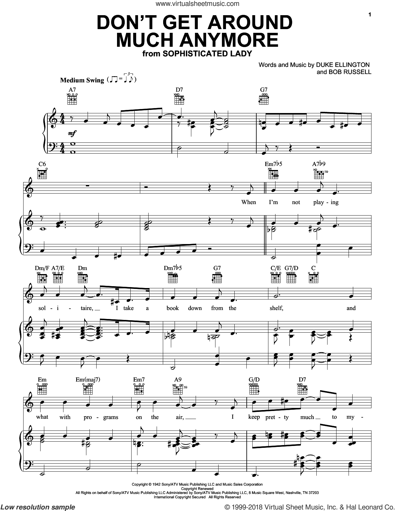 Don't Get Around Much Anymore sheet music for voice, piano or guitar by Duke Ellington, Rod Stewart and Bob Russell, intermediate. Score Image Preview.