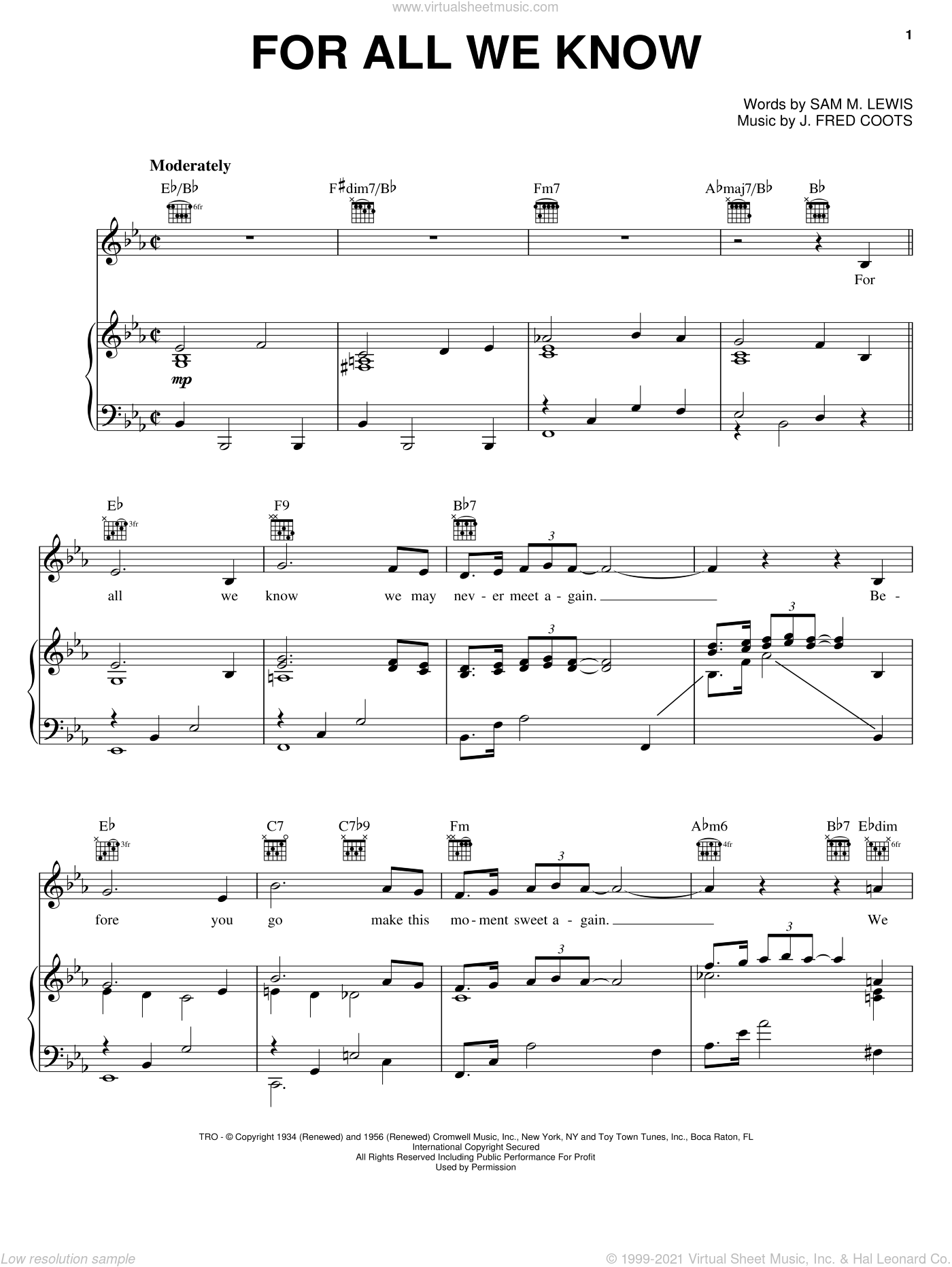 For All We Know sheet music for voice, piano or guitar by J. Fred Coots