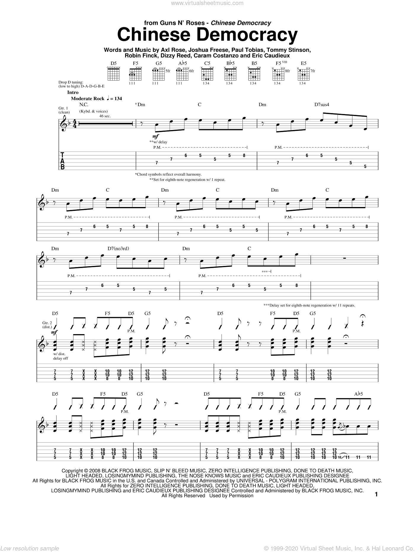 Chinese Democracy sheet music for guitar (tablature) by Guns N' Roses, Axl Rose, Caram Costanzo, Dizzy Reed, Eric Caudieux, Joshua Freese, Paul Tobias, Robin Finck and Tommy Stinson, intermediate skill level