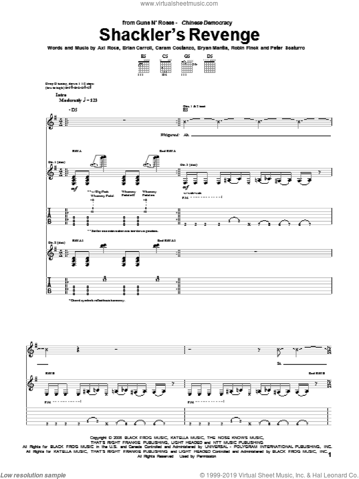 Shackler's Revenge sheet music for guitar (tablature) by Robin Finck, Axl Rose, Caram Costanzo and Peter Scaturro. Score Image Preview.