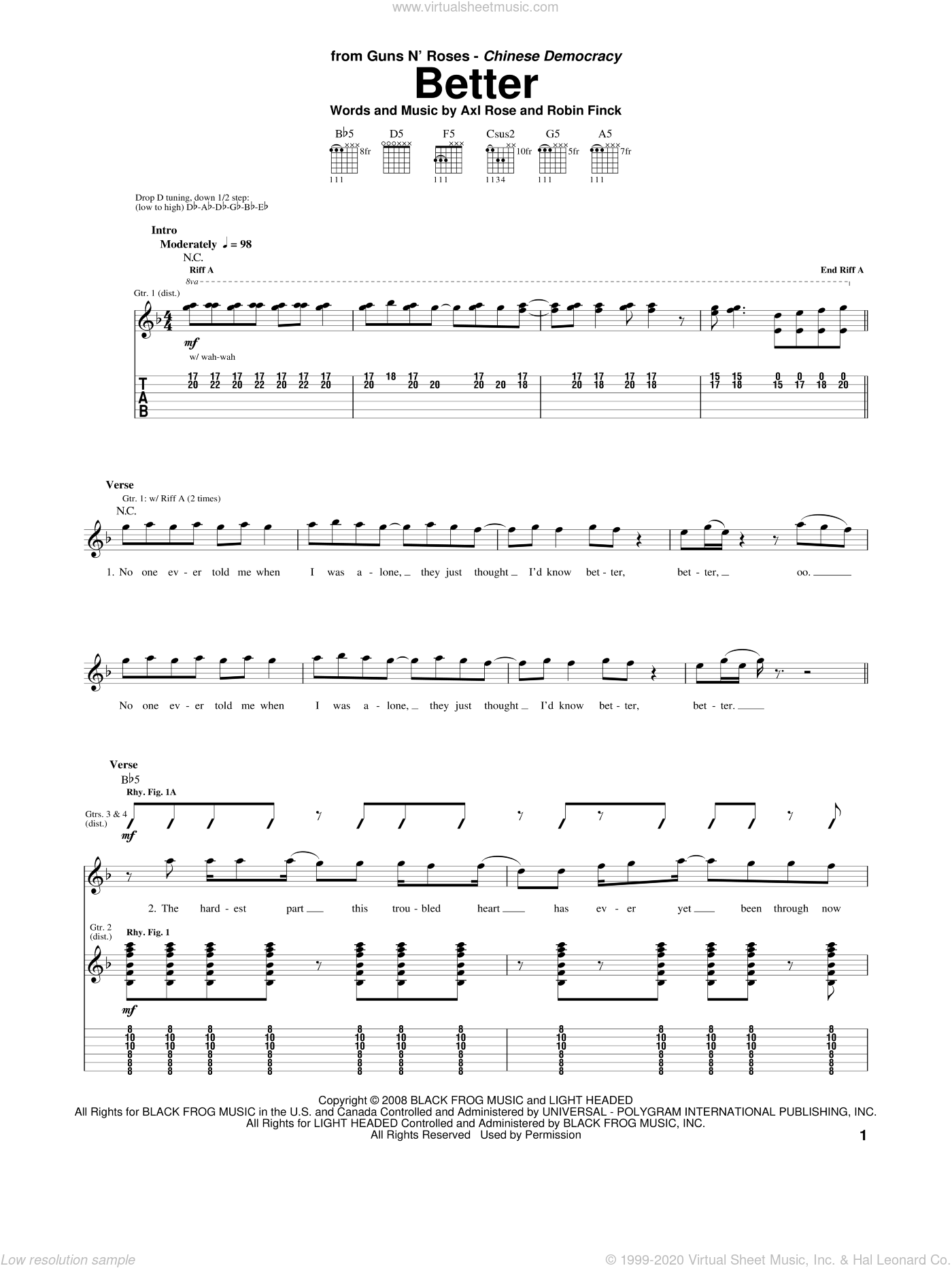 Better sheet music for guitar (tablature) by Robin Finck and Axl Rose. Score Image Preview.