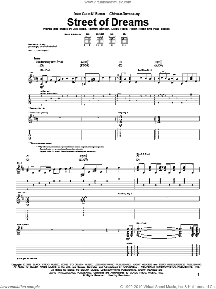 Street Of Dreams sheet music for guitar (tablature) by Guns N' Roses, Axl Rose, Dizzy Reed, Paul Tobias, Robin Finck and Tommy Stinson, intermediate skill level