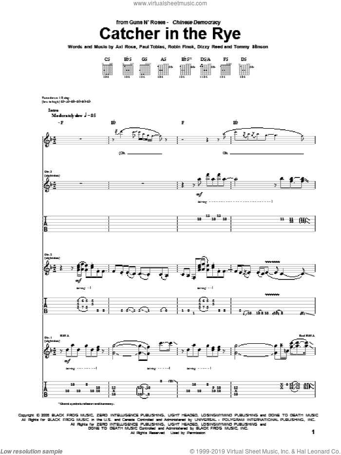 Catcher In The Rye sheet music for guitar (tablature) by Guns N' Roses, Axl Rose, Dizzy Reed, Paul Tobias, Robin Finck and Tommy Stinson, intermediate skill level