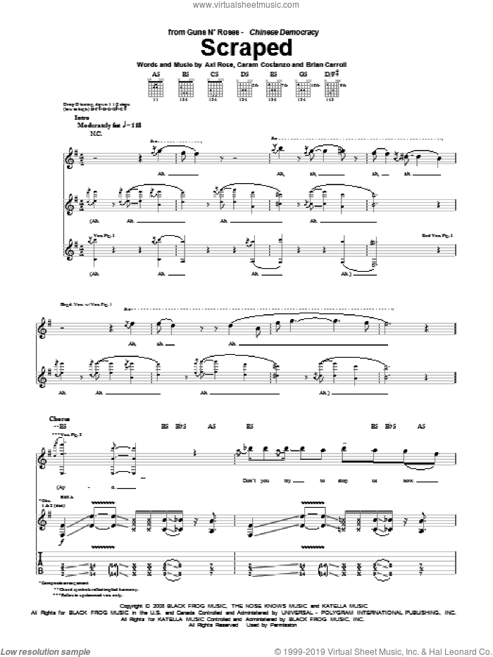 Scraped sheet music for guitar (tablature) by Guns N' Roses, Axl Rose, Brian Carroll and Caram Costanzo, intermediate