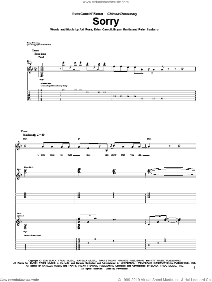 Sorry sheet music for guitar (tablature) by Guns N' Roses and Axl Rose, intermediate guitar (tablature). Score Image Preview.