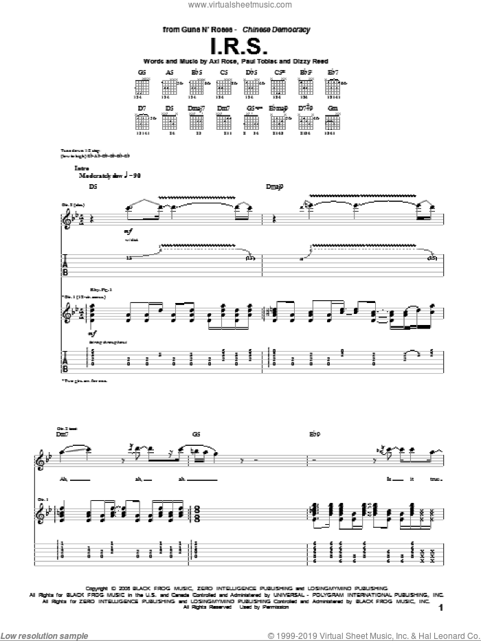 I.R.S. sheet music for guitar (tablature) by Guns N' Roses, Axl Rose, Dizzy Reed and Paul Tobias, intermediate. Score Image Preview.