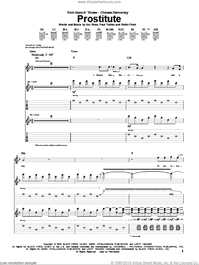 Prostitute sheet music for guitar (tablature) by Guns N' Roses and Axl Rose, intermediate. Score Image Preview.