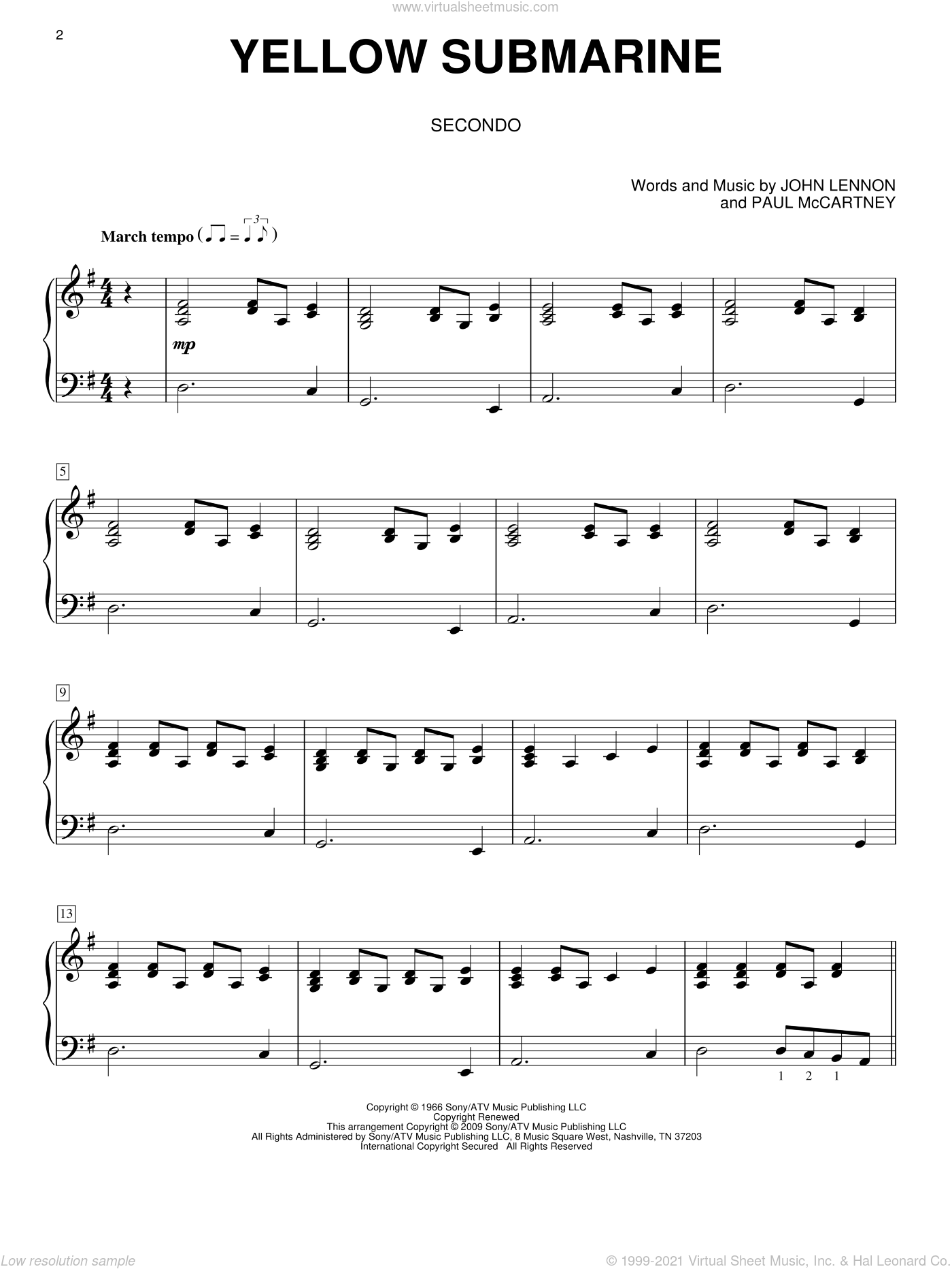 Yellow Submarine sheet music for piano four hands by The Beatles, John Lennon and Paul McCartney, intermediate skill level