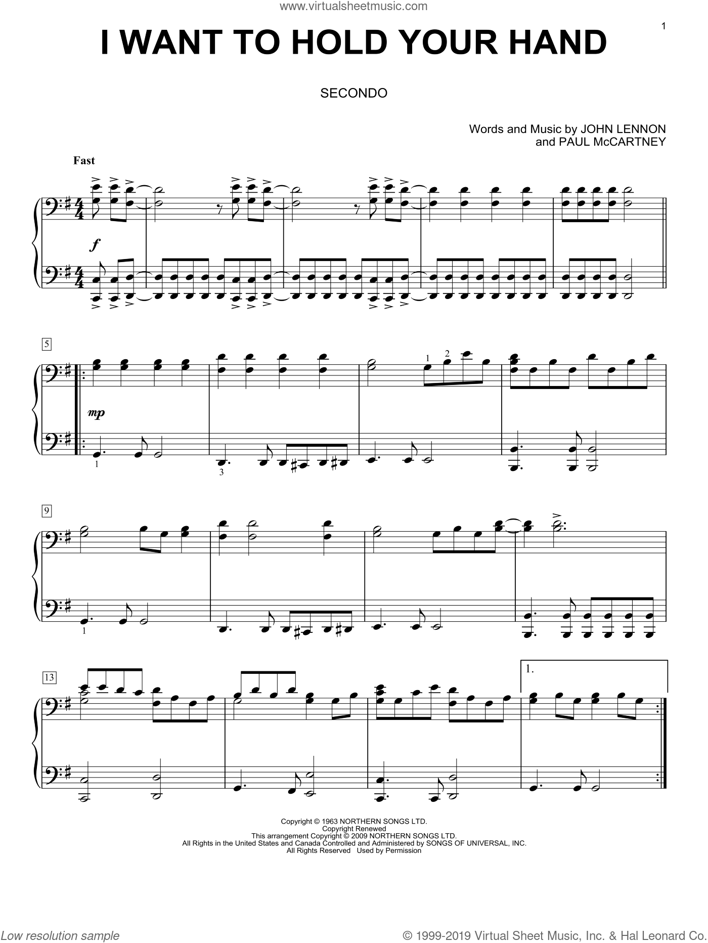 I Want To Hold Your Hand sheet music for piano four hands by The Beatles, John Lennon and Paul McCartney, intermediate