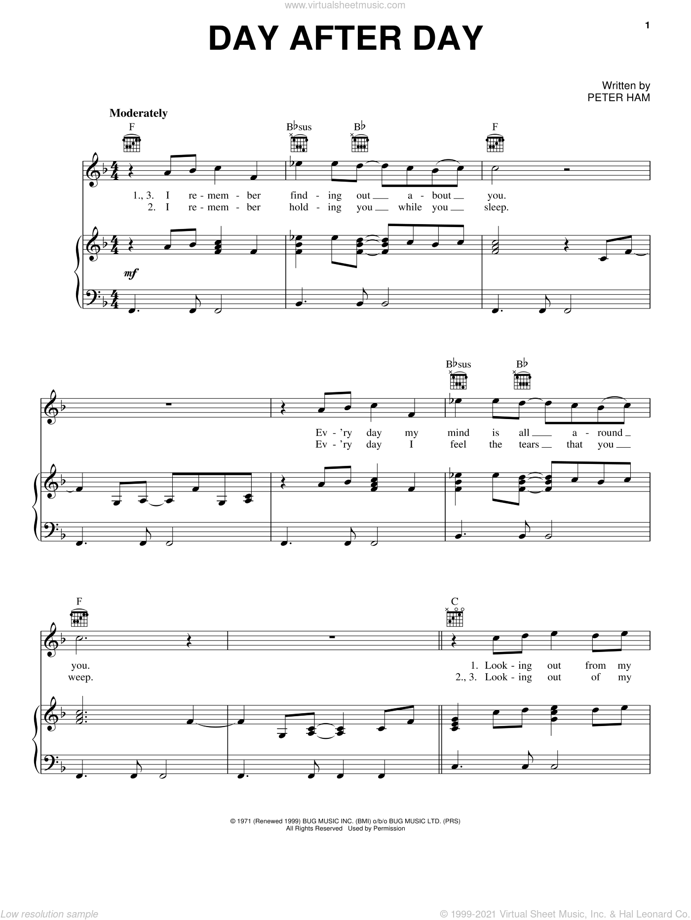 Day After Day sheet music for voice, piano or guitar by Pete Ham and Badfinger. Score Image Preview.