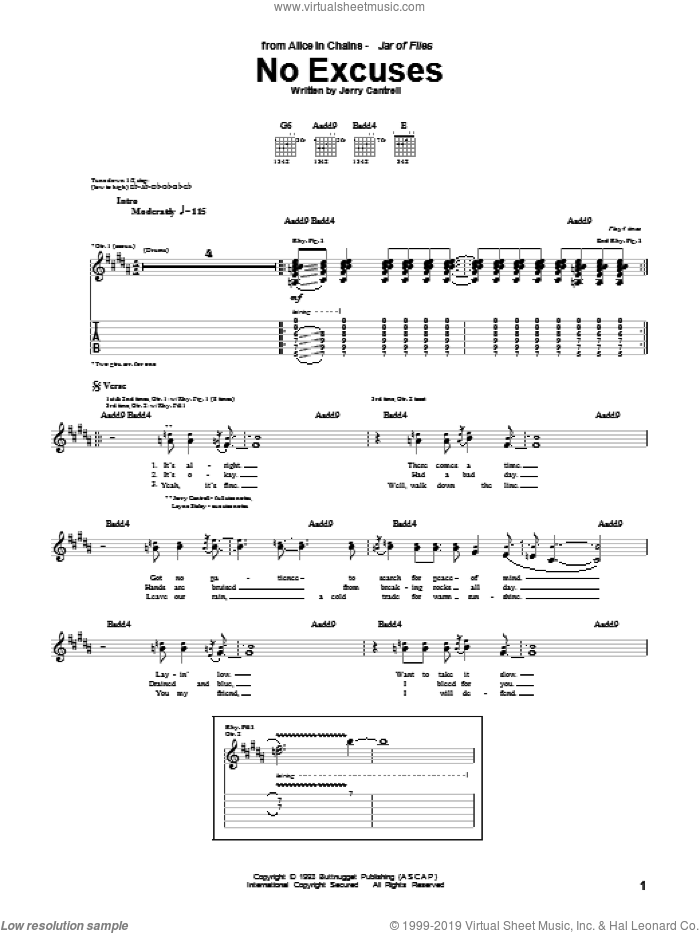No Excuses sheet music for guitar (tablature) by Alice In Chains and Jerry Cantrell, intermediate