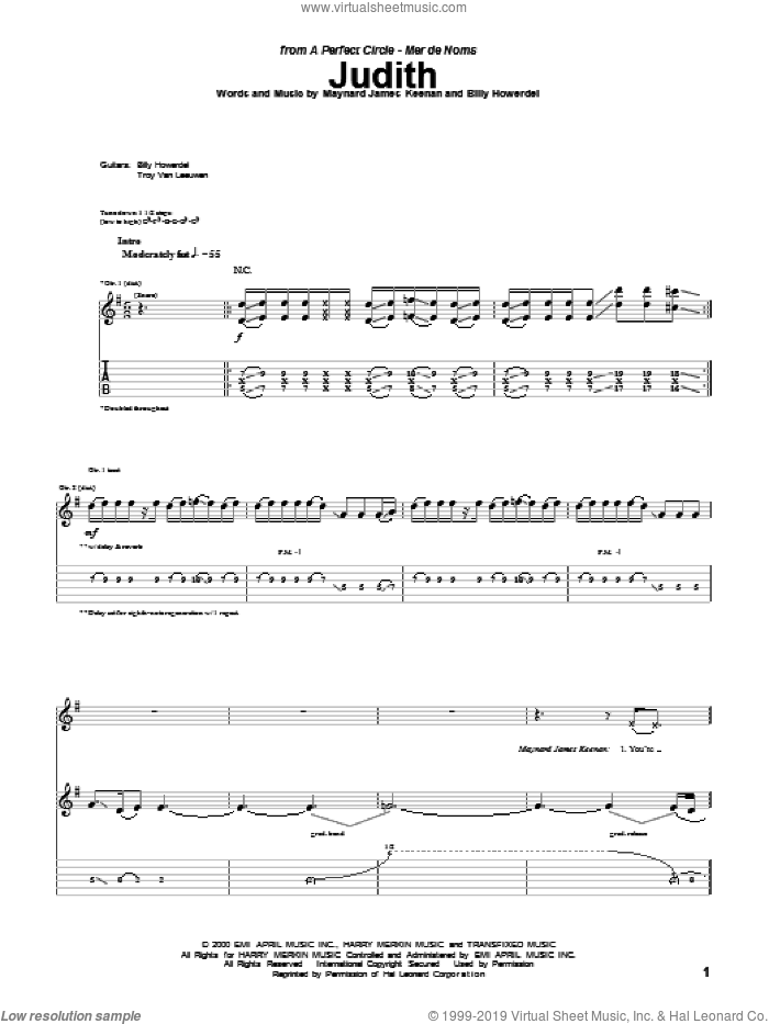Judith sheet music for guitar (tablature) by A Perfect Circle and Maynard James Keenan, intermediate. Score Image Preview.