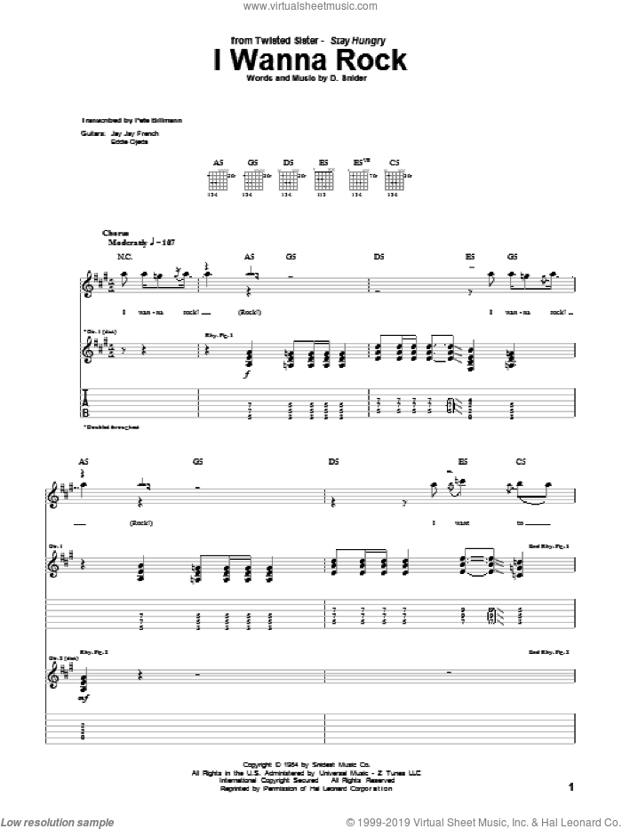 I Wanna Rock sheet music for guitar (tablature) by Dee Snider. Score Image Preview.