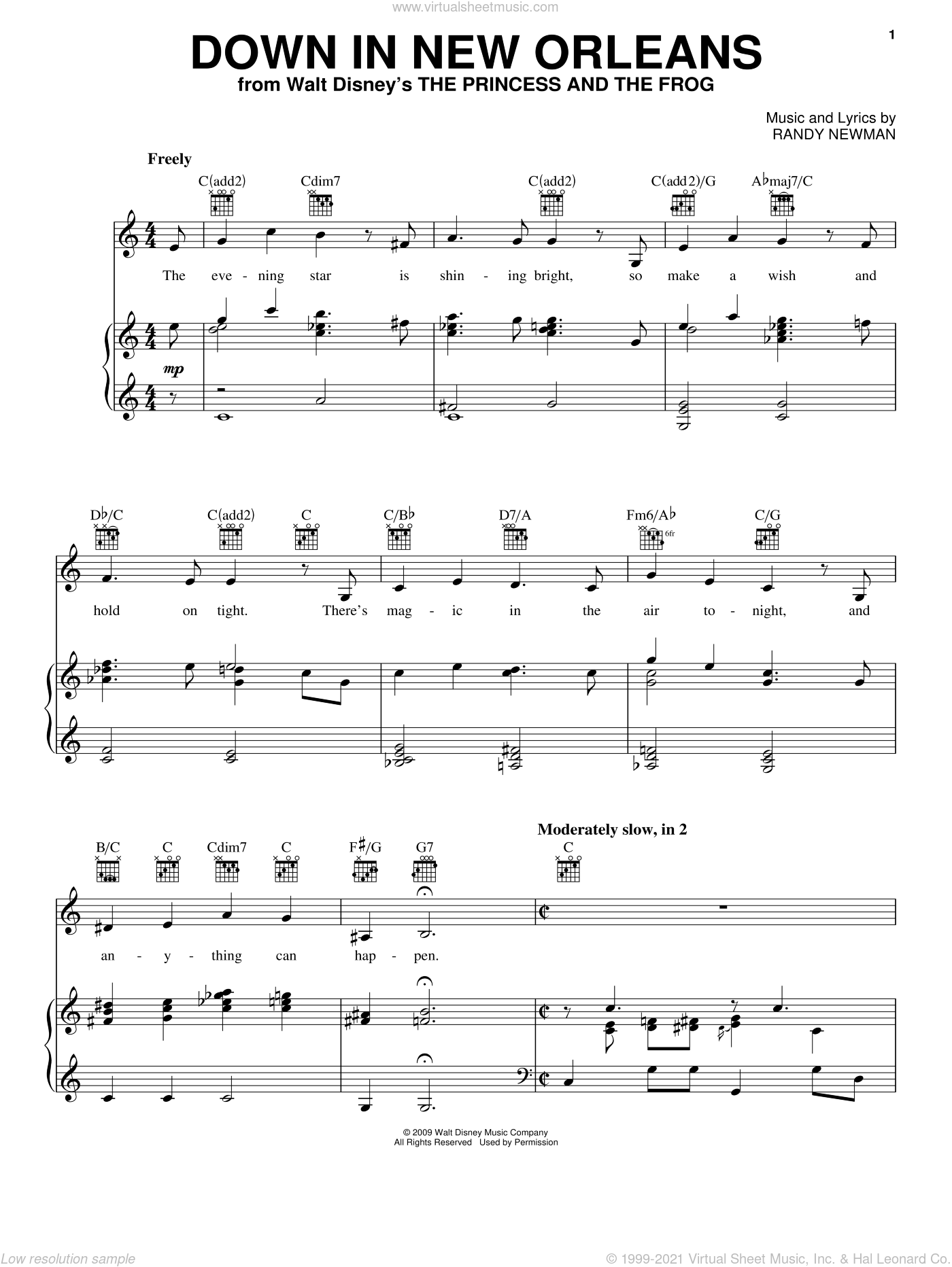 Down In New Orleans sheet music for voice, piano or guitar by Anika Noni Rose and Randy Newman. Score Image Preview.