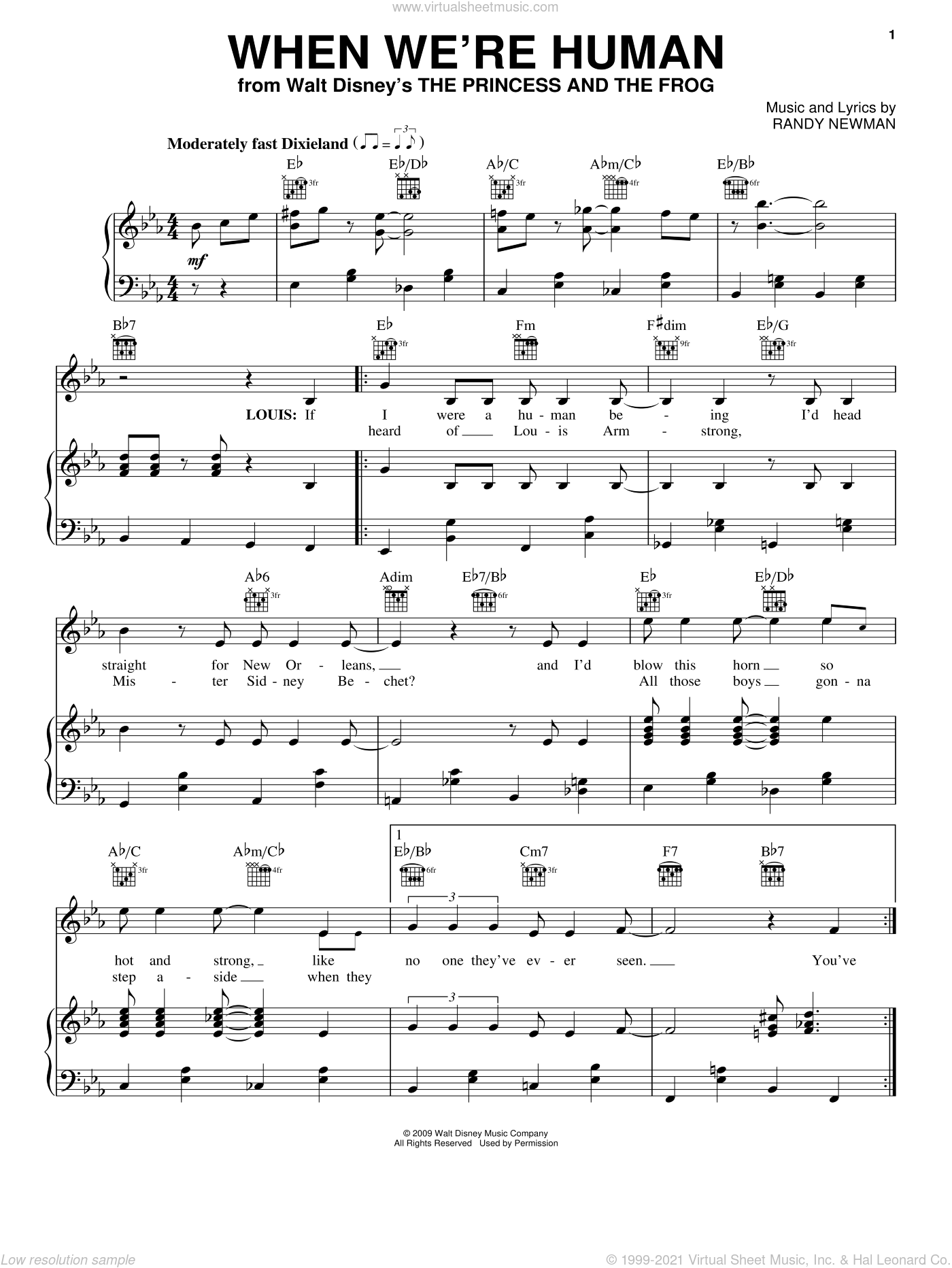 When We're Human sheet music for voice, piano or guitar by Anika Noni Rose, The Princess And The Frog (Movie) and Randy Newman, intermediate