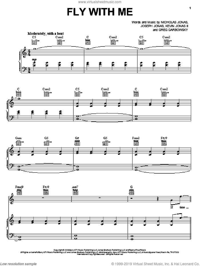 Fly With Me sheet music for voice, piano or guitar by Nicholas Jonas and Joseph Jonas. Score Image Preview.
