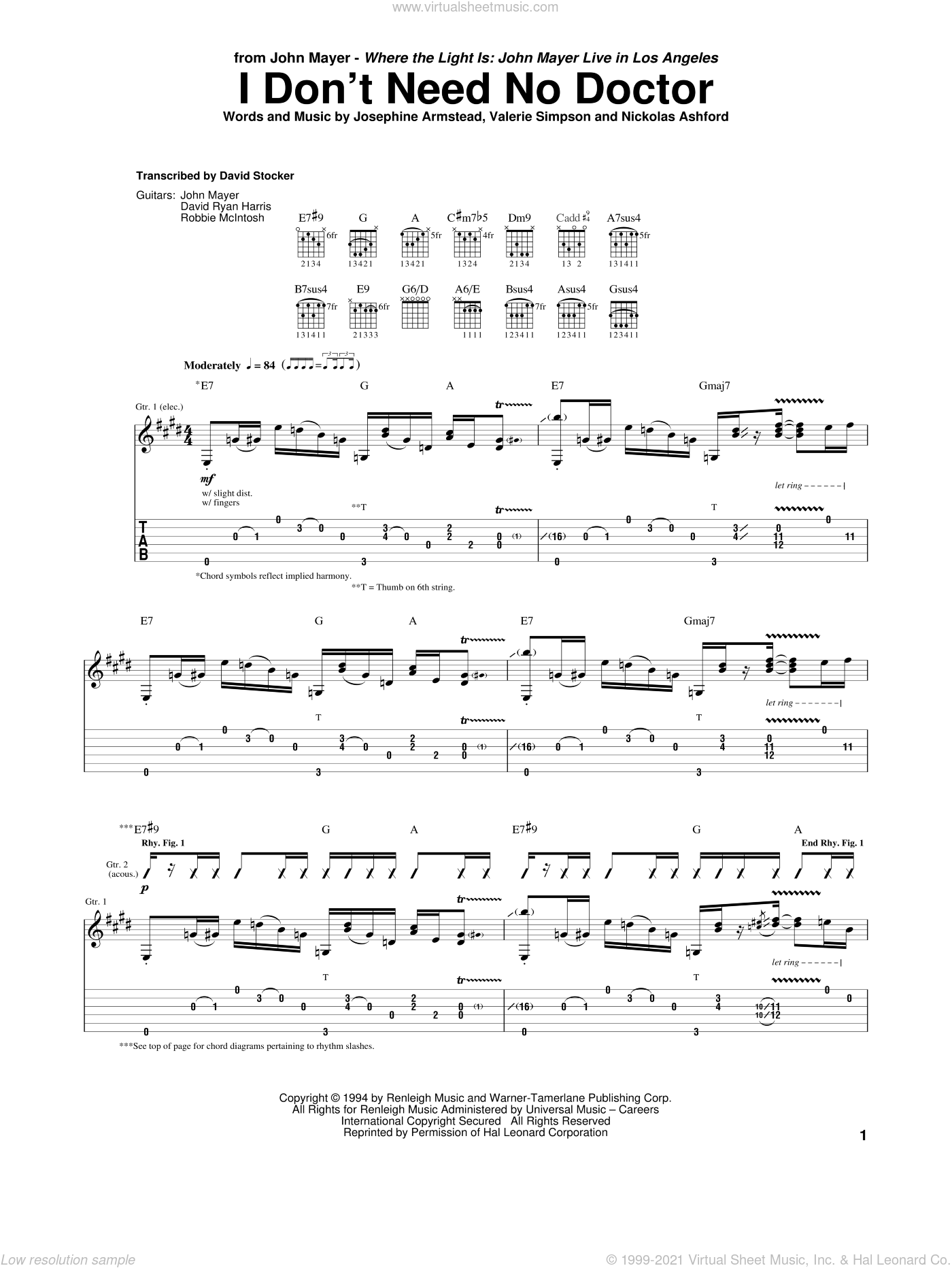 I Don't Need No Doctor sheet music for guitar (tablature) by Valerie Simpson