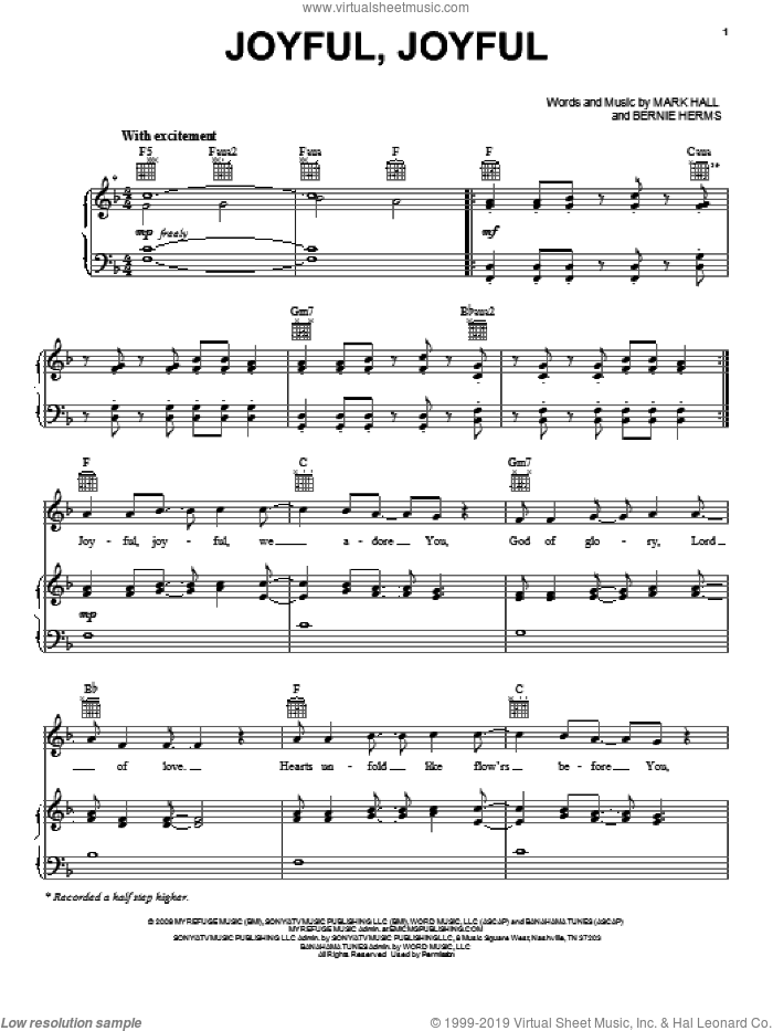 Joyful, Joyful sheet music for voice, piano or guitar by Casting Crowns, Bernie Herms and Mark Hall, intermediate skill level