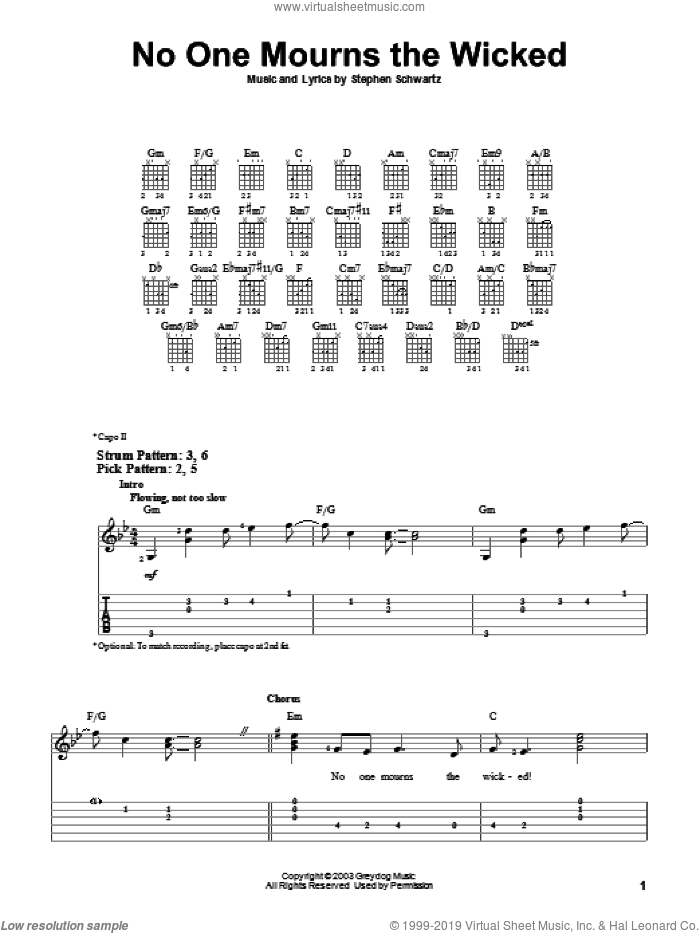 No One Mourns The Wicked sheet music for guitar solo (easy tablature) by Stephen Schwartz. Score Image Preview.