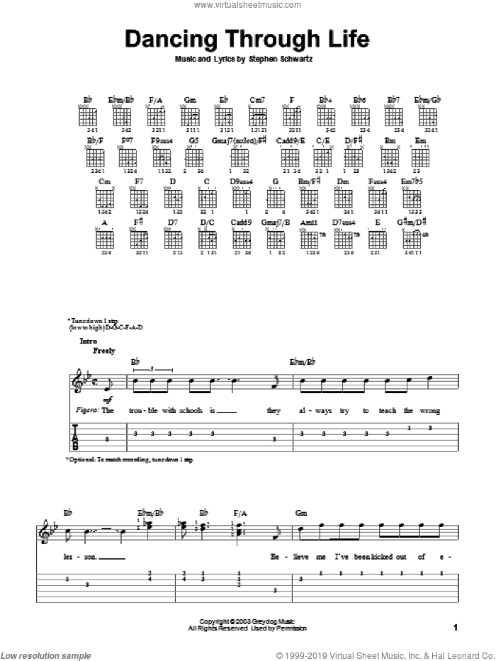 Dancing Through Life sheet music for guitar solo (easy tablature) by Stephen Schwartz and Wicked (Musical), easy guitar (easy tablature)