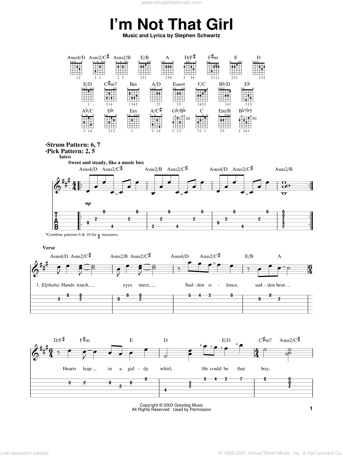 I'm Not That Girl sheet music for guitar solo (easy tablature) by Stephen Schwartz and Wicked (Musical), easy guitar (easy tablature)