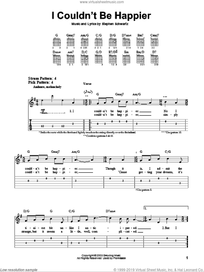I Couldn't Be Happier sheet music for guitar solo (easy tablature) by Stephen Schwartz, easy guitar (easy tablature). Score Image Preview.