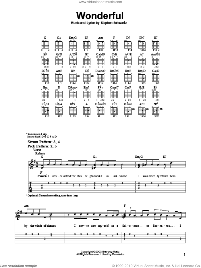 Wonderful sheet music for guitar solo (easy tablature) by Stephen Schwartz and Wicked (Musical), easy guitar (easy tablature)
