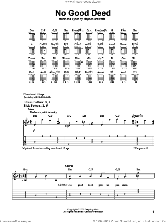 No Good Deed sheet music for guitar solo (easy tablature) by Stephen Schwartz. Score Image Preview.
