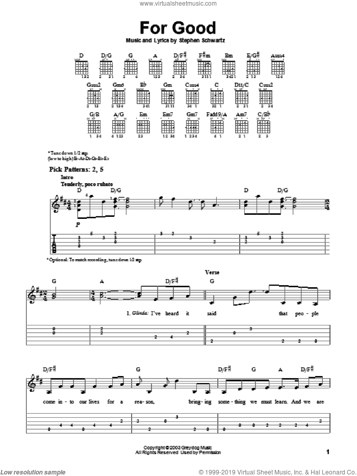 For Good sheet music for guitar solo (easy tablature) by Stephen Schwartz and Wicked (Musical), easy guitar (easy tablature)