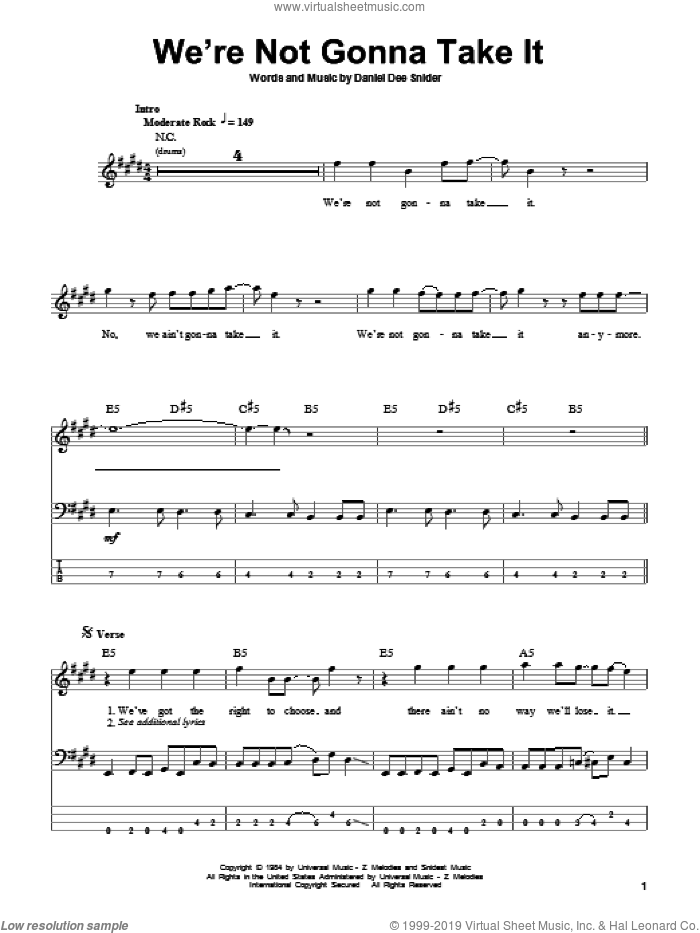 We're Not Gonna Take It sheet music for bass (tablature) (bass guitar) by Twisted Sister. Score Image Preview.