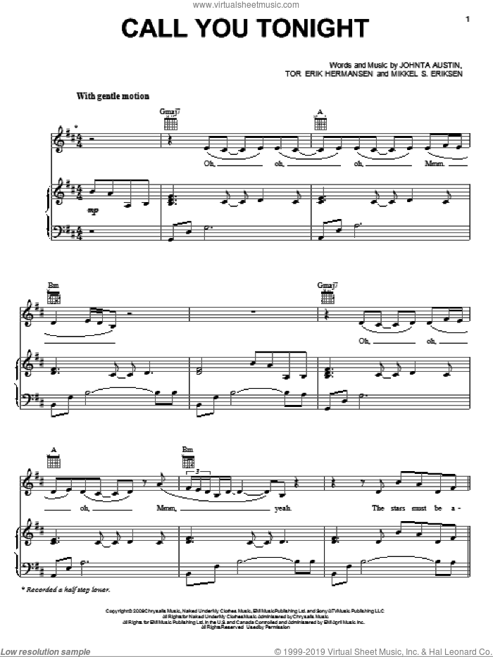 Call You Tonight sheet music for voice, piano or guitar by Whitney Houston, Johnta Austin, Mikkel S. Eriksen and Tor Erik Hermansen, intermediate skill level