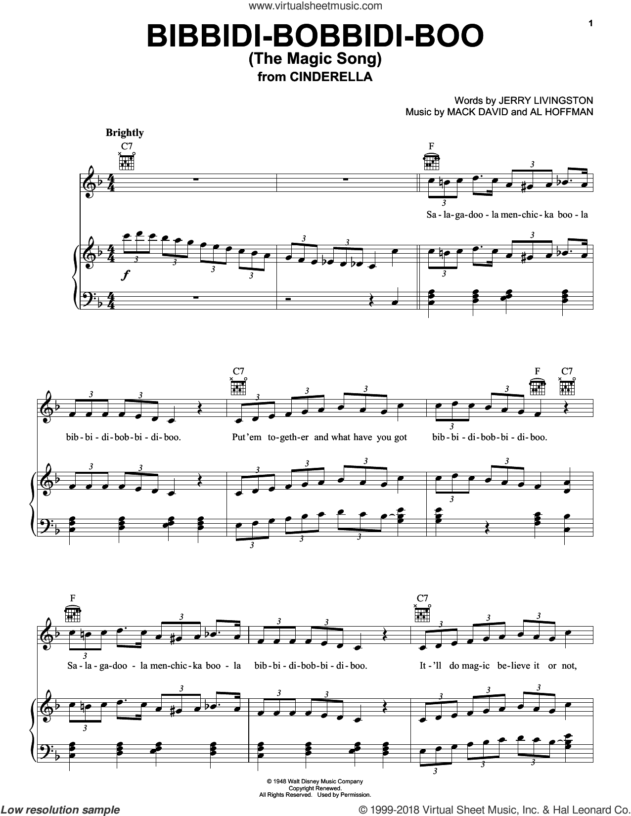 Bibbidi-Bobbidi-Boo (The Magic Song) sheet music for voice, piano or guitar by Louis Armstrong, Bobby McFerrin, Al Hoffman, Jerry Livingston and Mack David, intermediate skill level