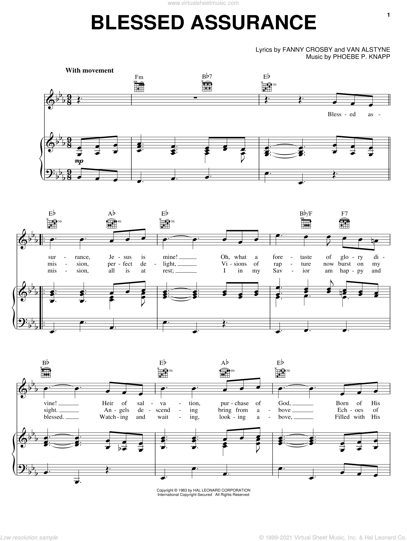 Blessed Assurance sheet music for voice, piano or guitar by Phoebe Palmer Knapp