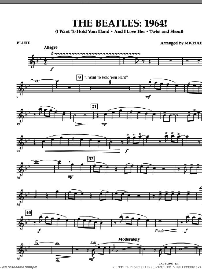The Beatles, 1964! sheet music for concert band (flute) by Michael Brown and The Beatles. Score Image Preview.