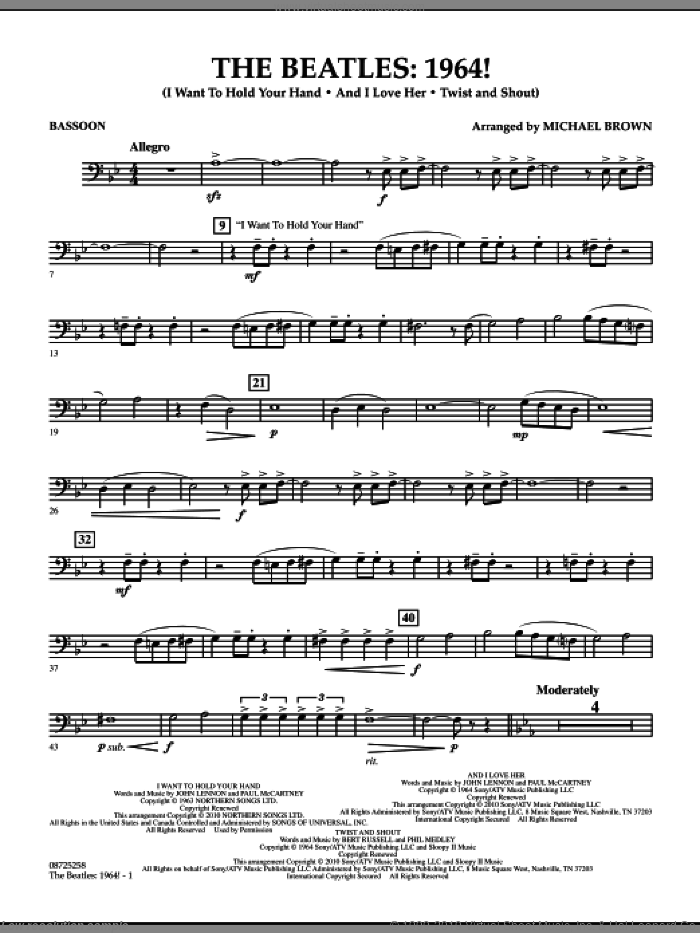 The Beatles, 1964! sheet music for concert band (bassoon) by The Beatles and Michael Brown, intermediate concert band (bassoon). Score Image Preview.