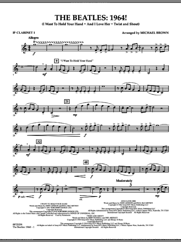 The Beatles, 1964! sheet music for concert band (Bb clarinet 1) by The Beatles and Michael Brown, intermediate. Score Image Preview.