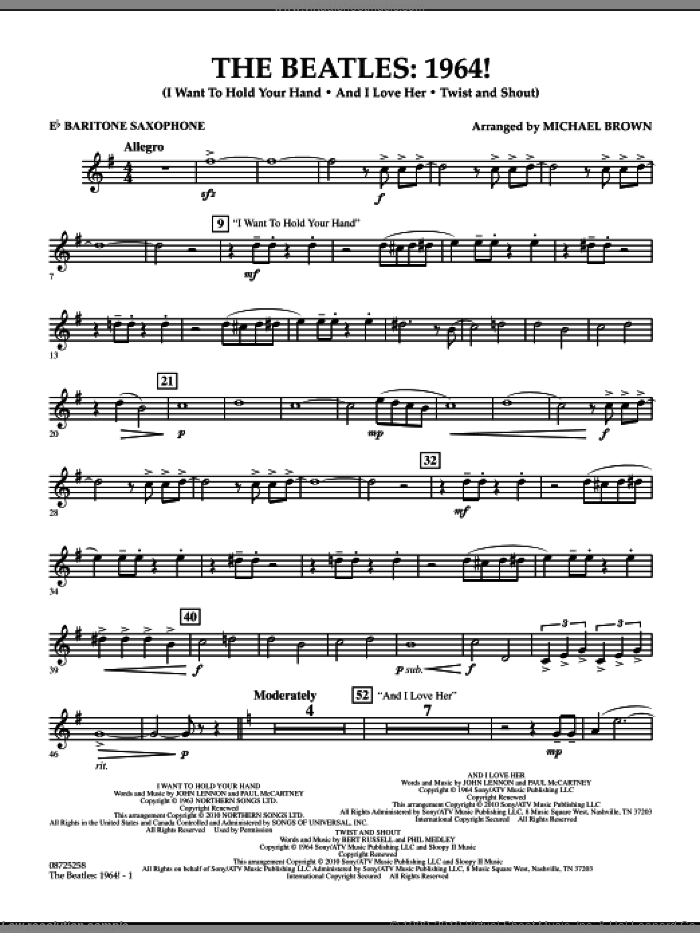 The Beatles, 1964! sheet music for concert band (Eb baritone saxophone) by Michael Brown and The Beatles. Score Image Preview.