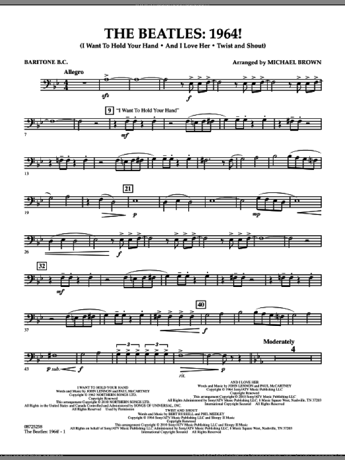 The Beatles, 1964! sheet music for concert band (baritone b.c.) by Michael Brown and The Beatles. Score Image Preview.