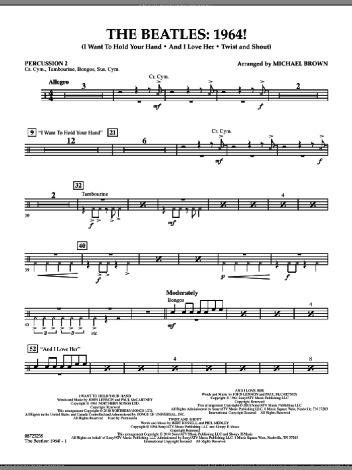 The Beatles, 1964! sheet music for concert band (percussion 2) by Michael Brown and The Beatles. Score Image Preview.
