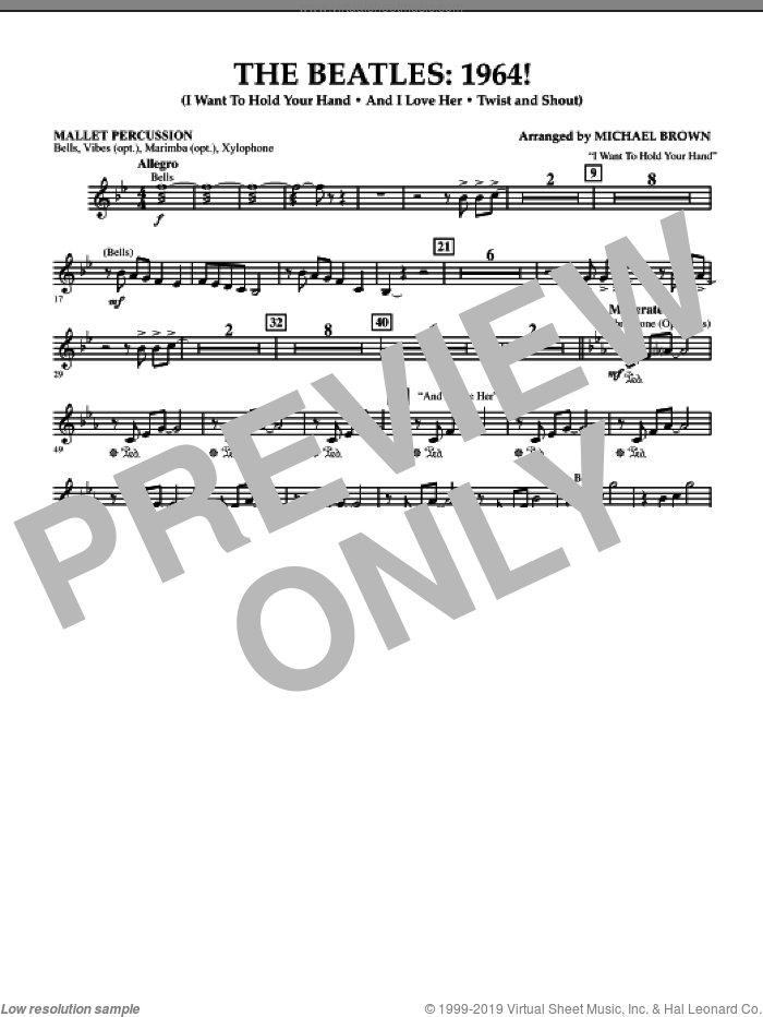 The Beatles, 1964! sheet music for concert band (mallet percussion) by Michael Brown and The Beatles. Score Image Preview.