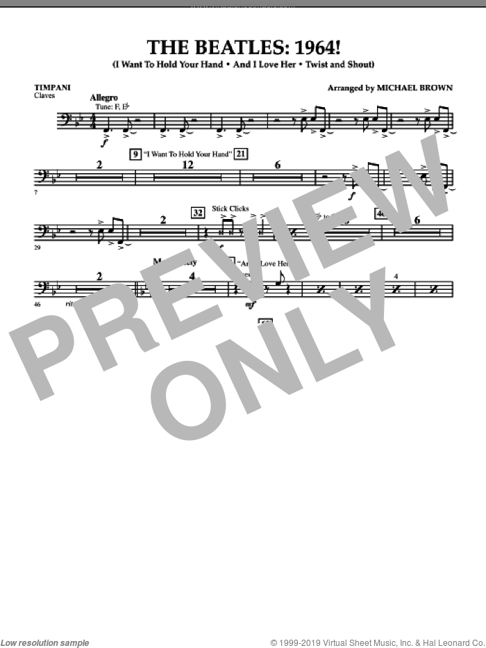 The Beatles, 1964! sheet music for concert band (timpani) by Michael Brown and The Beatles. Score Image Preview.