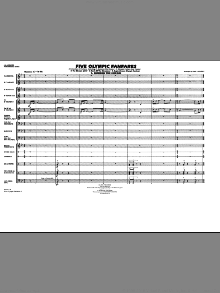 Five Olympic Fanfares (COMPLETE) sheet music for marching band by Paul Lavender, intermediate